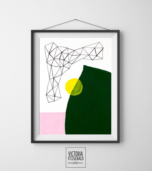 Forest Green and Blush Pink Abstract Geometric Wall Art Print - vfitzartist  - 1