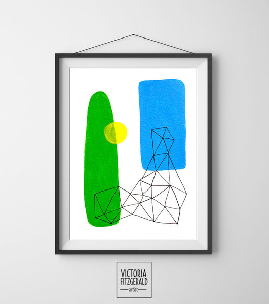 Lime Green and China Blue Abstract Geometric Wall Art Print - vfitzartist