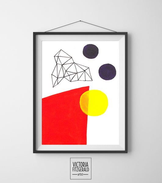 Bright Red and Dark Purple Abstract Geometric Art Print - vfitzartist  - 1