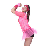 Retro String Mesh Fishnet Vest T-shirt Neon Pink