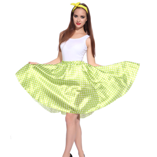 Ladies Grease Girl Style Green Polka Dot Dress in 1950s Rockabilly