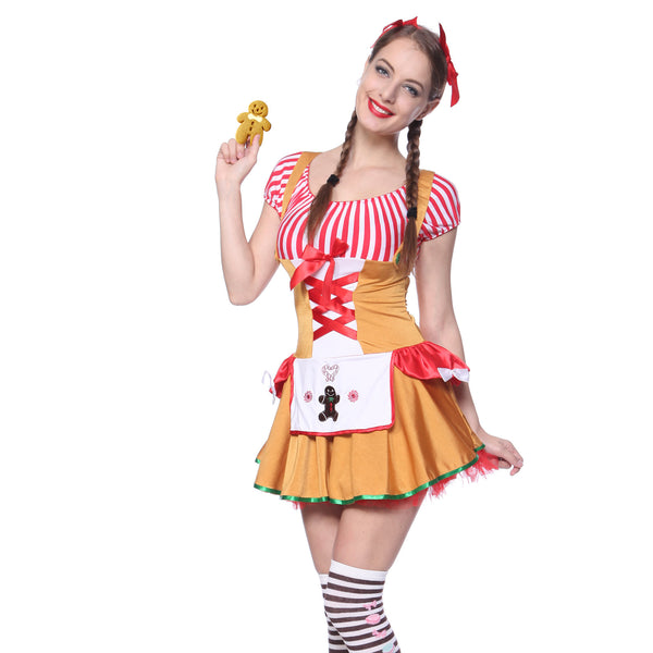 Ladies Sexy Gingerbread Halloween Carnival Xmas Mini Fancy Dress  sc 1 st  Maboobie : gingerbread costume for adults  - Germanpascual.Com