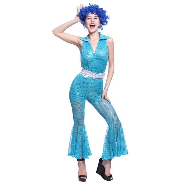 Womens 70s 80s Disco Dancing Party Jumpsuits