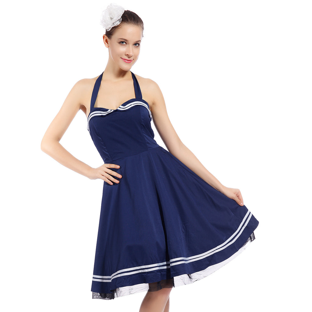 50s Halter Sleeveless Vintage Rockabilly Housewife Dress