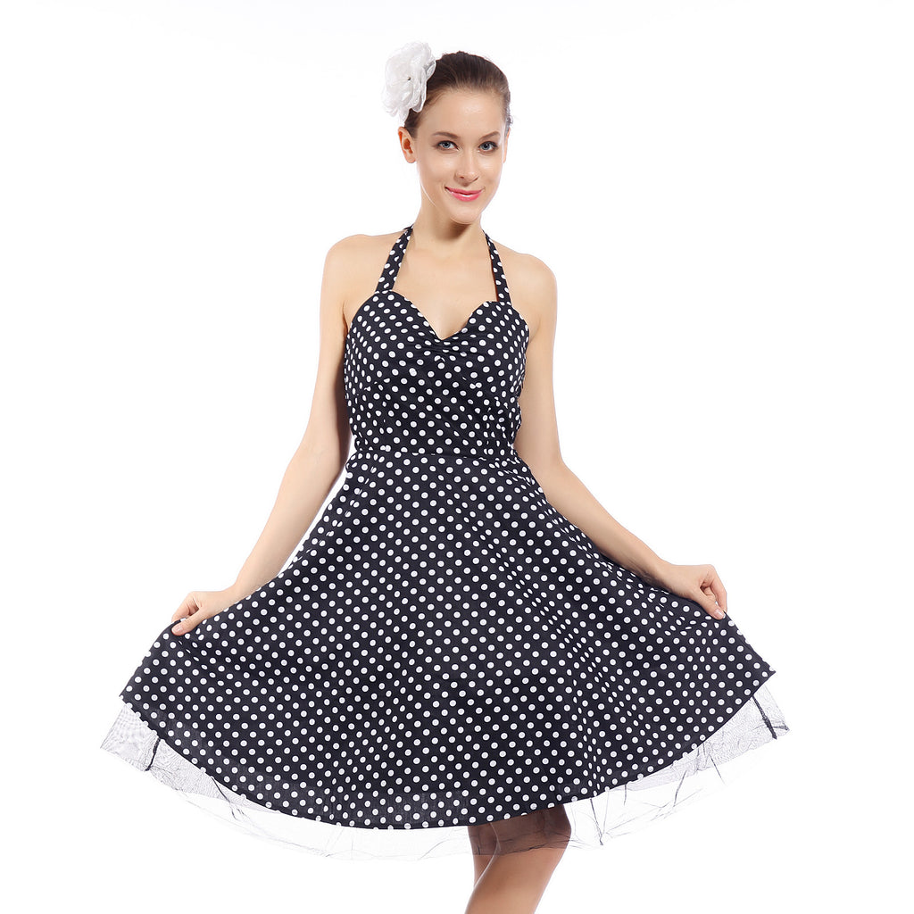 50s Halter Sleeveless Vintage Spot Housewife Dress