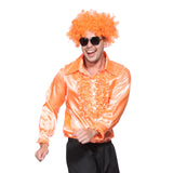 Mens Retro Disco Ruffle Shirt  in 1970s Orange