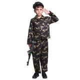 Boys Kids Army Soldier Camouflage Uniform Military Outfit