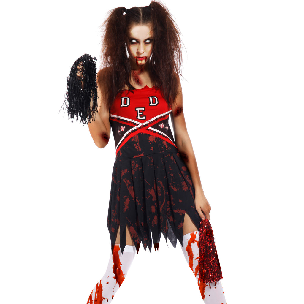 Ladies Zombie Cheerleader Costume High School Uniform