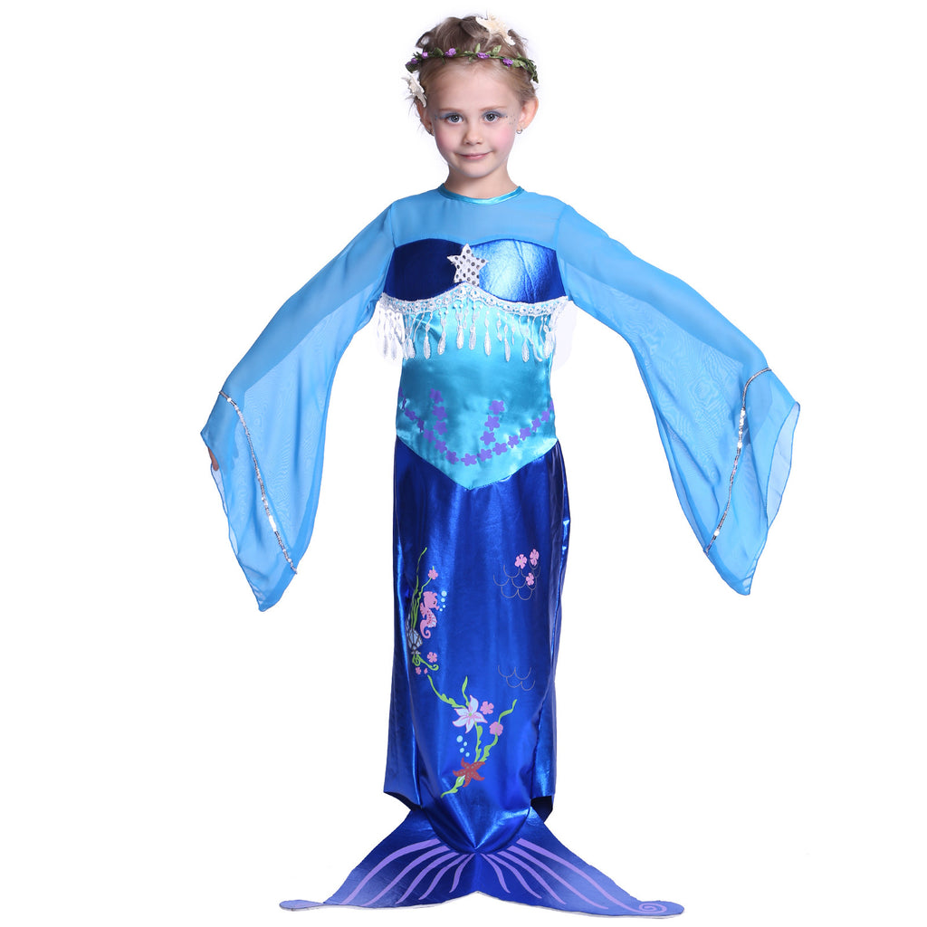 Girls Mermaid Costume Sky Blue