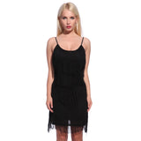 Vintage 5 Tiers Slip Dress Black