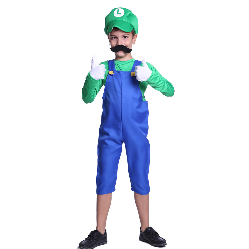 Kids Super Mario Luigi Costume  sc 1 st  Maboobie & Kids Boys Super Luigi Fancy Costume | Maboobie.com