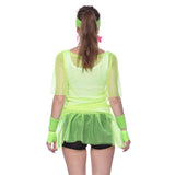 Retro String Mesh Fishnet Vest T-shirt Neon Green