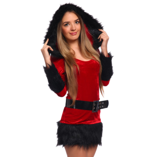Sexy Hooded Faux Fur Miss Santa Claus Christmas Party Costume