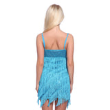 Deep V Fringed Flapper Dancing Dress