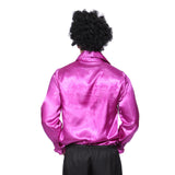 Mens Retro Disco Ruffle Shirt  in 1970s Purple
