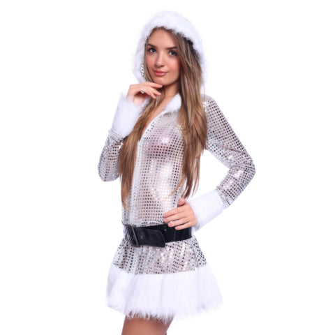 Ladies Long Sleeve Sequin Santa Claus Costume