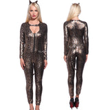 Leopard Catsuit Jumpsuit Costume Fancy Dress-UK