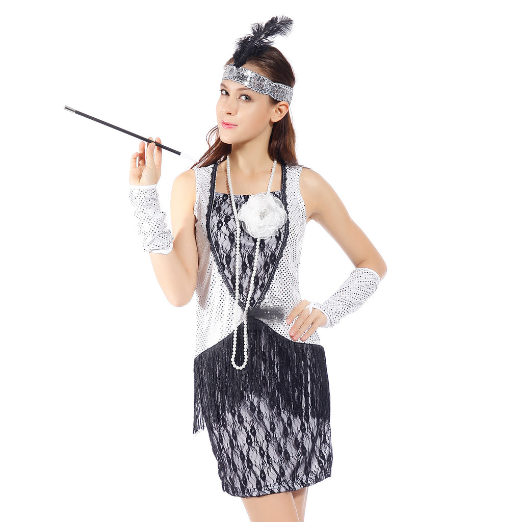 20s Silver Sequin Black Lace Charleston Gatsby Flapper Dress