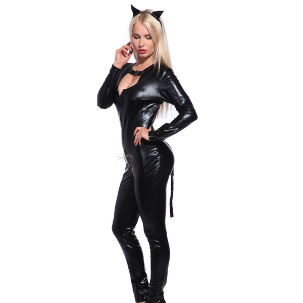 Black Catsuit Jumpsuit Costume Fancy Dress