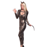 Leopard Catsuit Jumpsuit Costume Fancy Dress