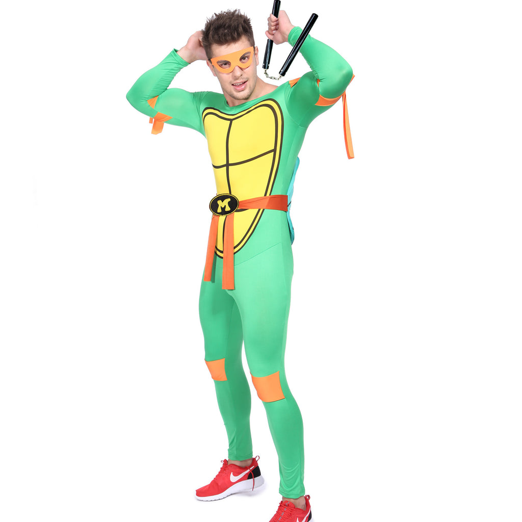 Men Ninja Turtle Costume Orange