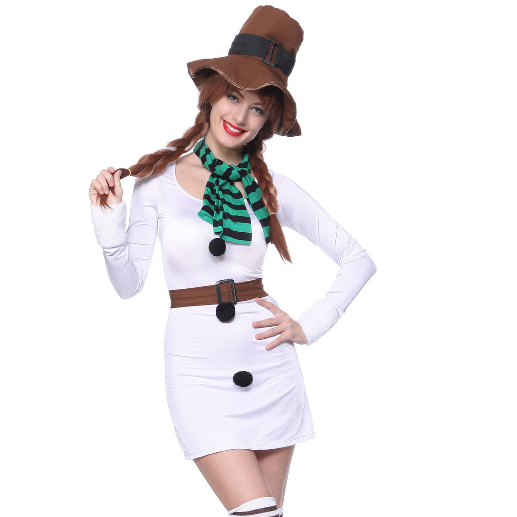 Christmas Carnival Theme Outfit.4pcs Snowman Snow Woman Olaf White Carnival Xmas Outfit
