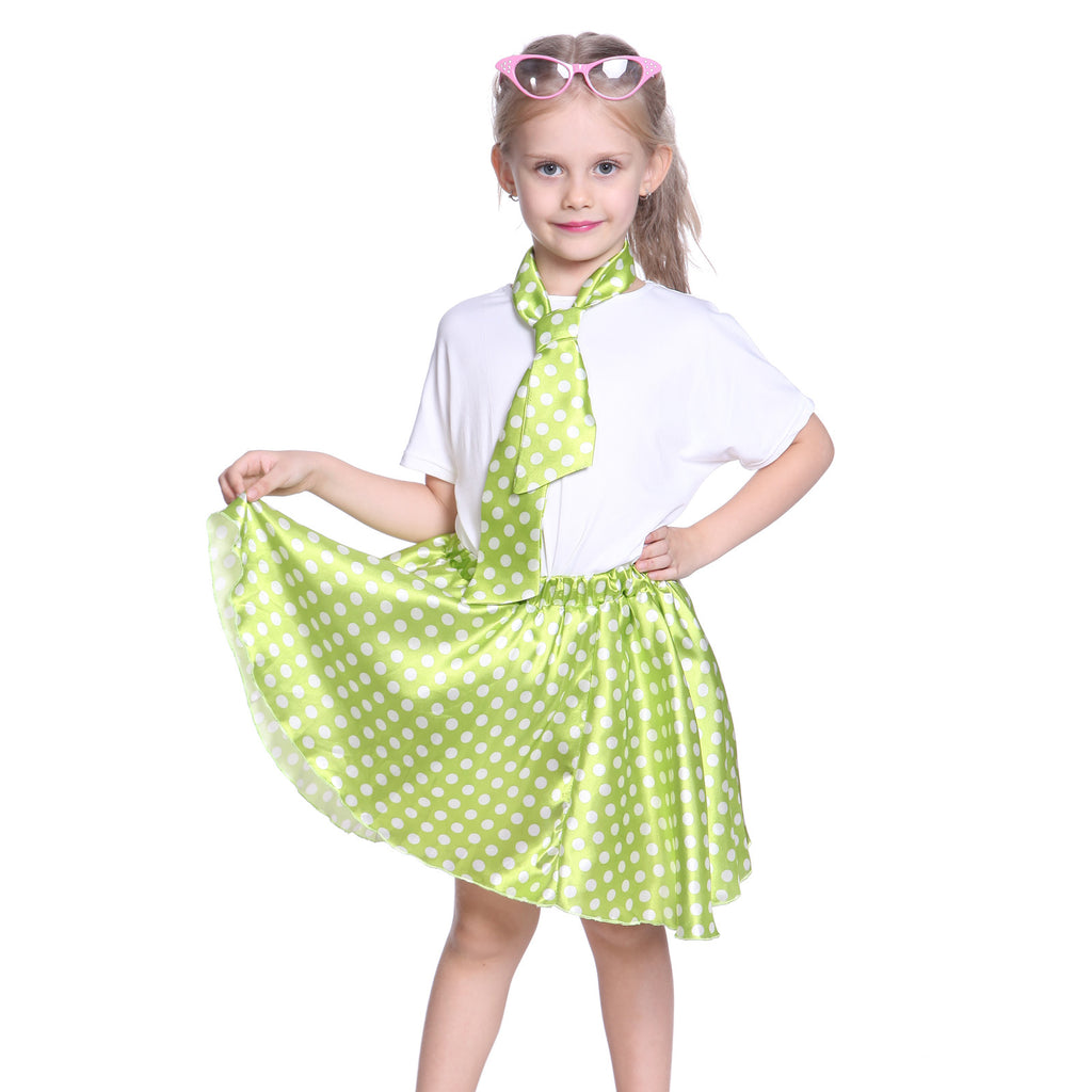 Girls Grease Girl Style Green Polka Dot Dress in 1950s Rockabilly