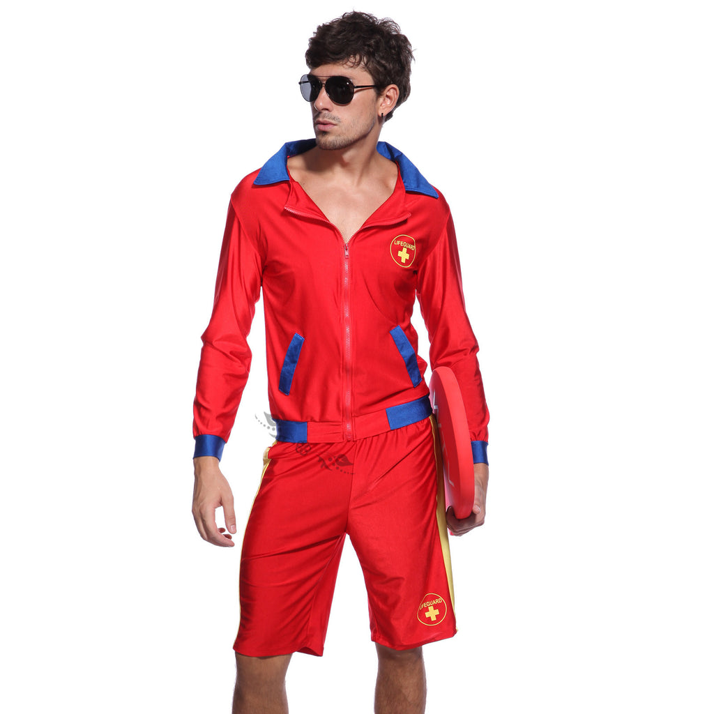 Mens Long Sleeve Lifeguard Beach Costume