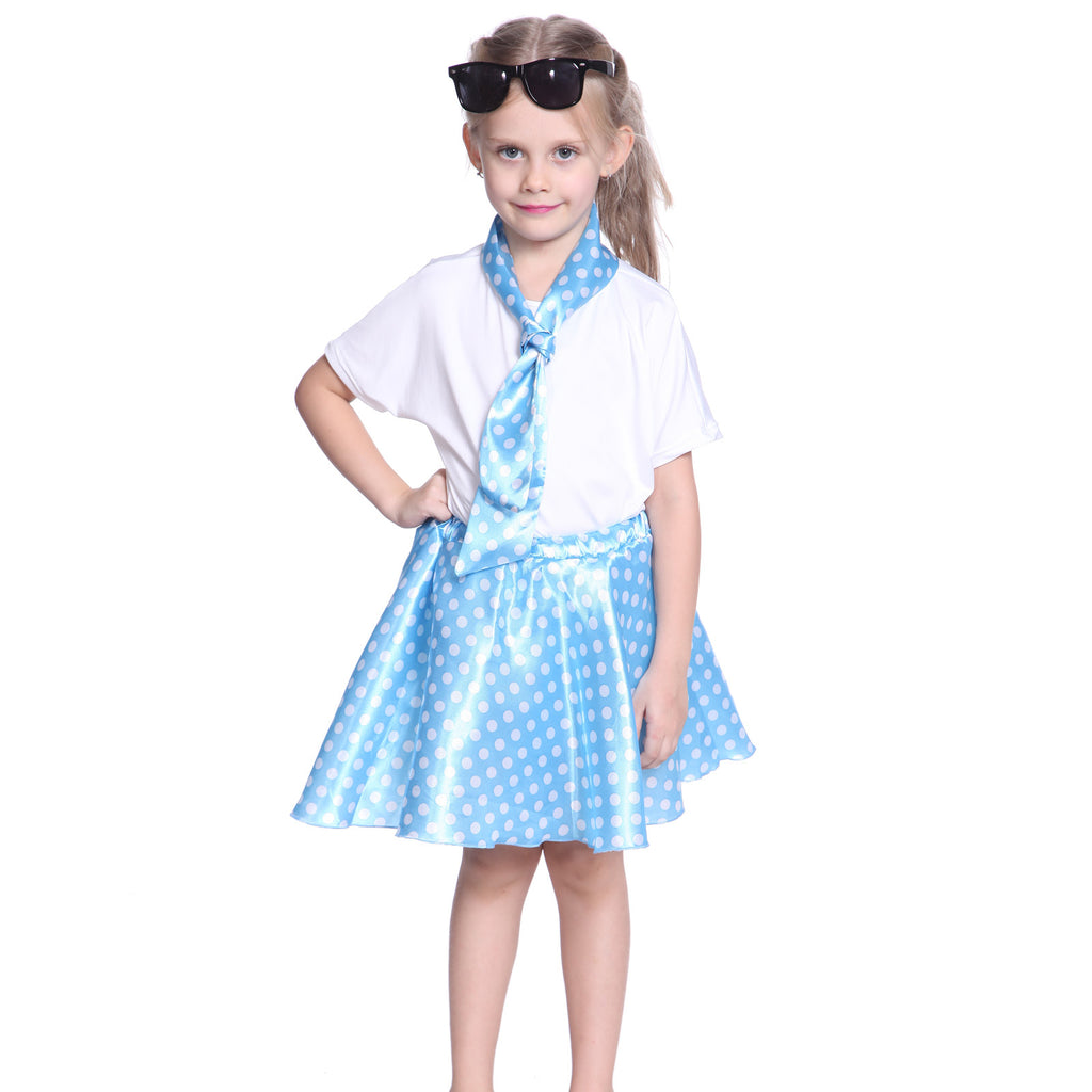 Girls Grease Girl Style Blue Polka Dot Dress in 1950s Rockabilly