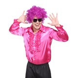 Mens Retro Disco Ruffle Shirt  in 1970s Hot Pink