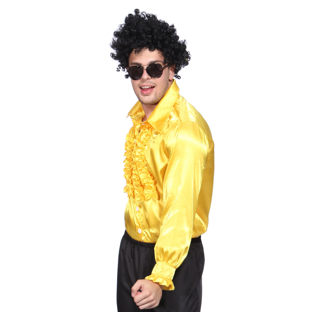Mens Retro Disco Ruffle Shirt  in 1970s Yellow