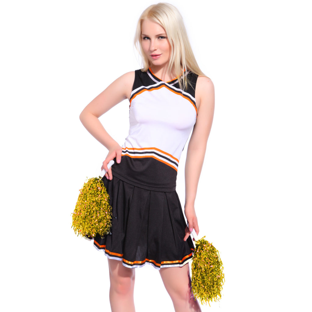 School Cheerleader Uniform Outfit Black White