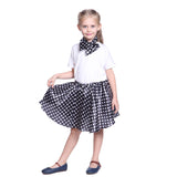 Girls Grease Girl Style Black and White Polka Dot Dress in 1950s Rockabilly