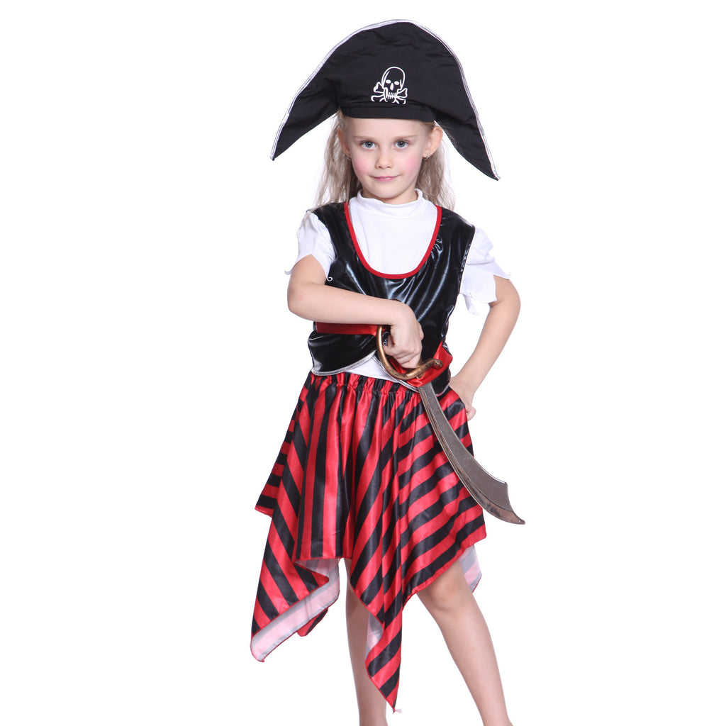 Girls Pirate Captain Fancy Dress Black