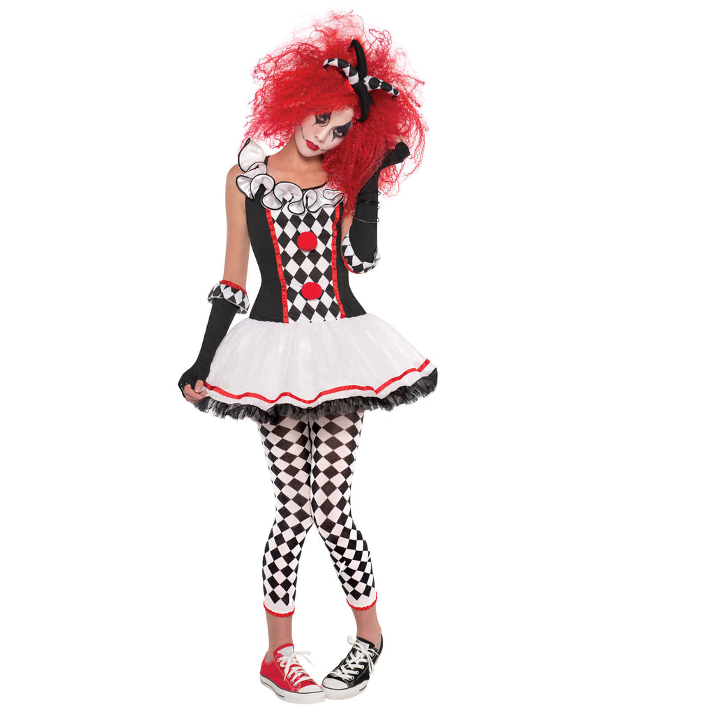 Ladies Scary Clown Jester Harlequin Fancy Dress