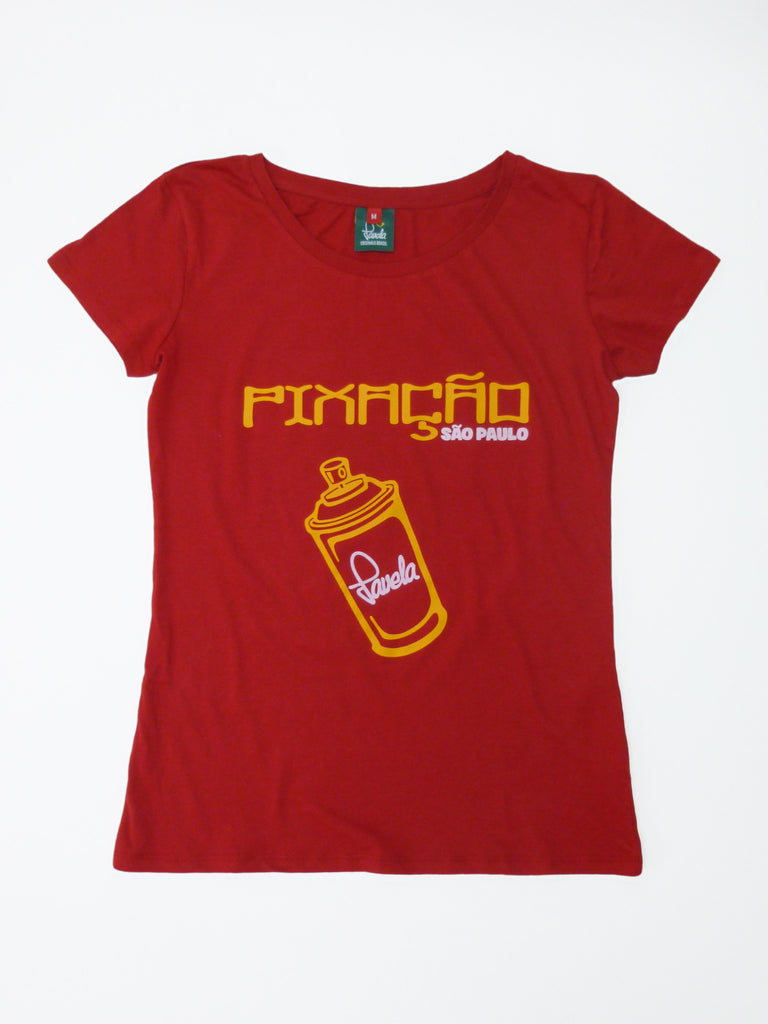 Pixacao Graffiti T-Shirt - Carnival Red - Womens