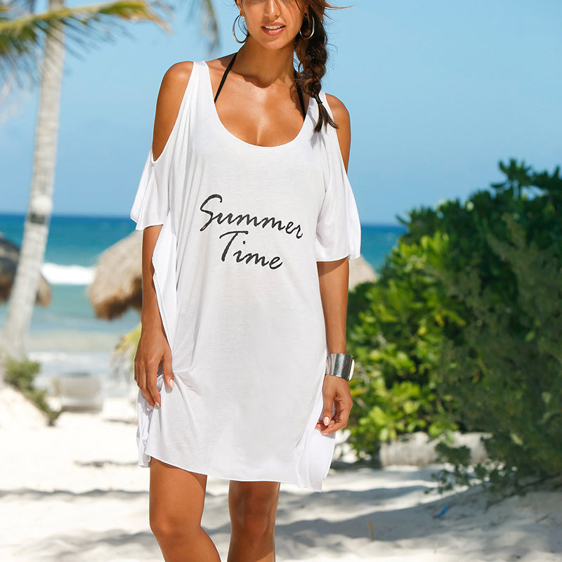 "SEXY OFF-THE-SHOULDER BEACH BLOUSE – WOMEN'S COTTON CASUAL ""SUMMER TIME"" TUNIC JERSEY TOP DRESS THAT SHOWS A SUGGESTIVE BIT OF SKIN"
