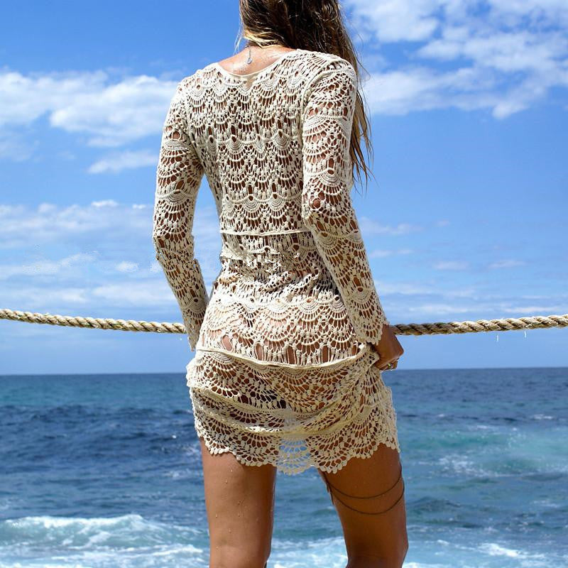 SEXY WHITE EMBROIDER CROCHET LONG SLEEVE BEACH COVER-UP – BEAUTIFUL HEAD-TURNING SAIDA DE PRAIA TOP WITH FLOWING SILHOUETTE