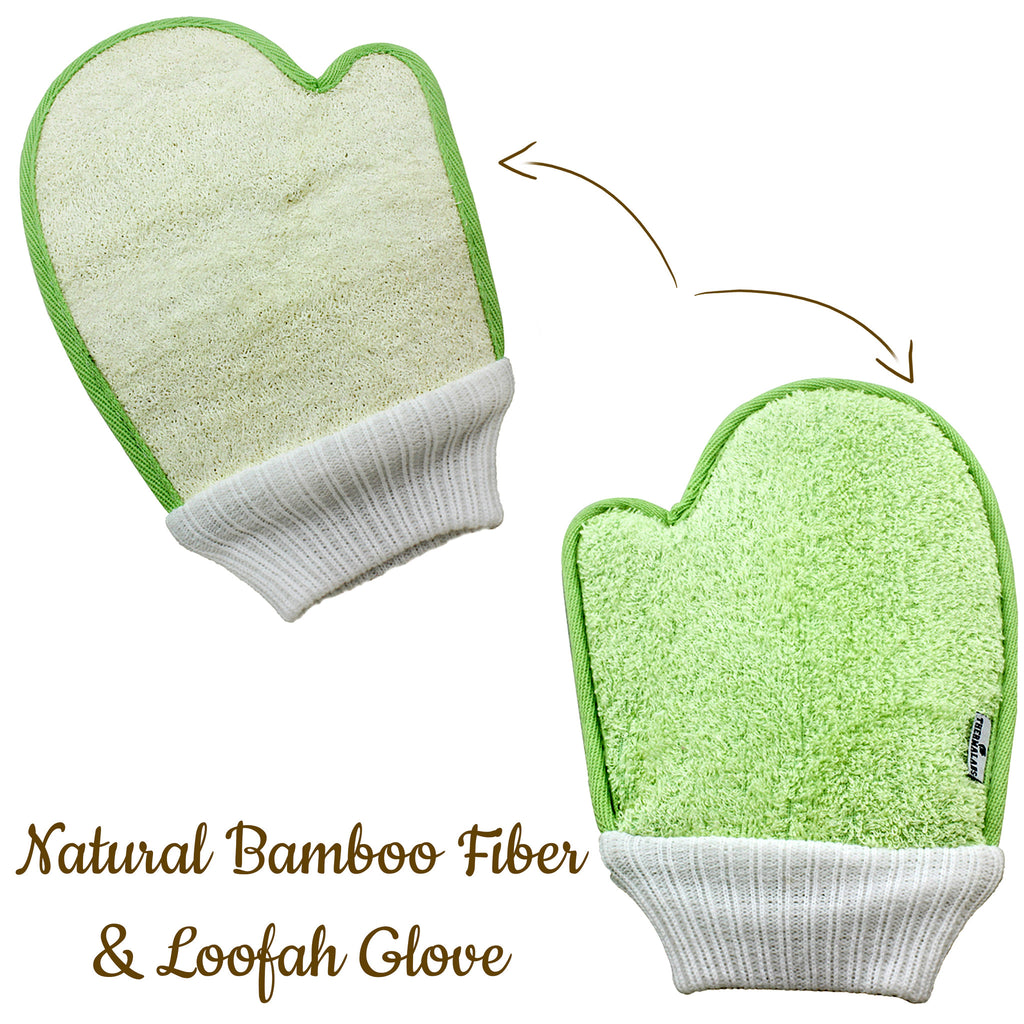 Natural Exfoliating Bamboo Fiber and Loofah Glove