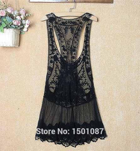 96b7d57d3f Hot New Women Lace Tunic Sexy Swimsuit Bikinis Smock Cover Up Cotton Blouse  Pareo Sweet Lady