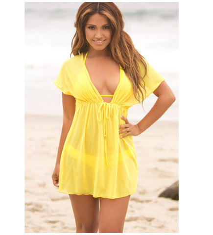 Hot sale summer style women Cover Ups sexy deep V-neck swimsuit cover up bikini beach cover up dress loose beachwear Beach dress