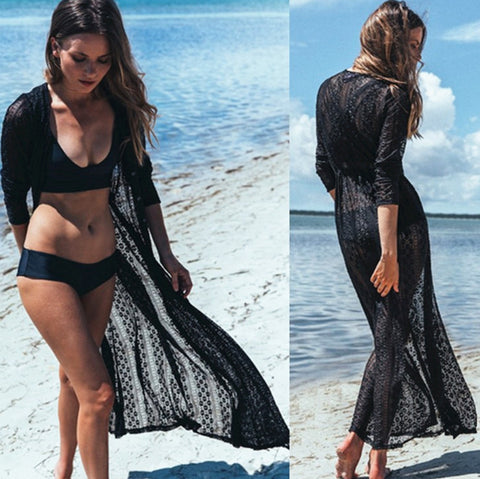 SHEER PERFECTION HIGH QUALITY LACE LONG BEACH COVER-UP – GET THE ATTENTION YOU DESERVE AND SERIOUSLY SIZZLE WITH STYLE IN THIS ELEGANT WOMEN'S TUNIC