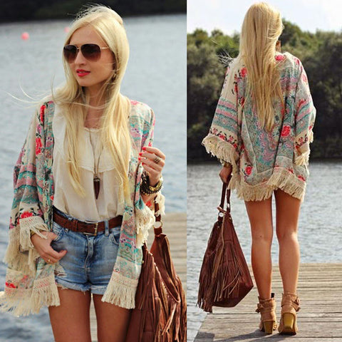 d12a9c51d0 VINTAGE STYLE FLORAL LACE BEACH CAPE TOP CARDIGAN – TASSELED BEACH BLOUSE  COVER-UP EASY