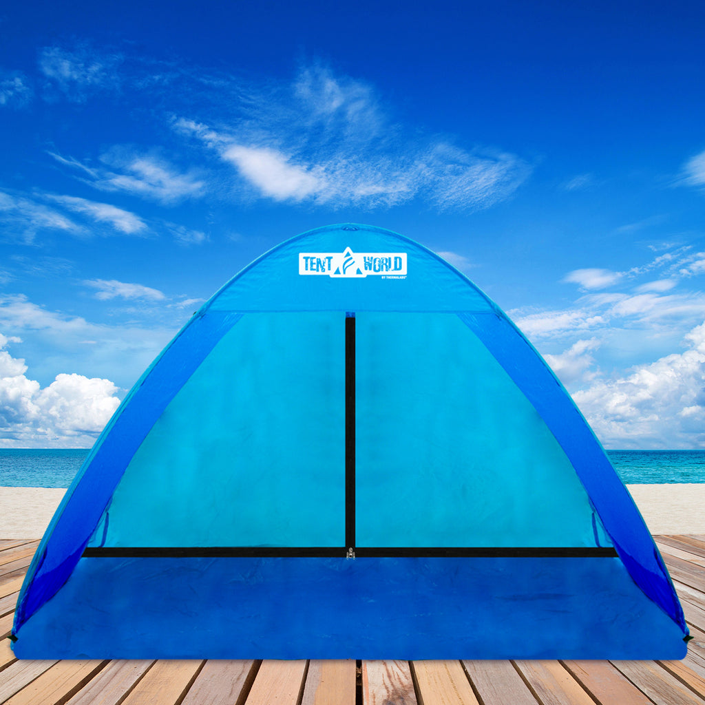 Mercury Anti UV Popup Beach Tent: Get a Shelter in a Breeze! Sun Shade Cabana Shelter with Carry Bag, Accessories and Bonuses