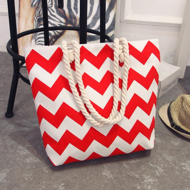 Red ZigZag Beach Bag