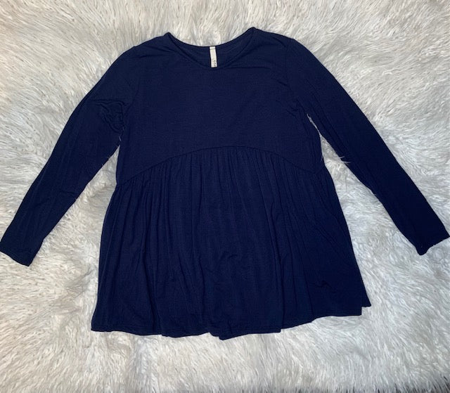 Navy Flowy Blouse