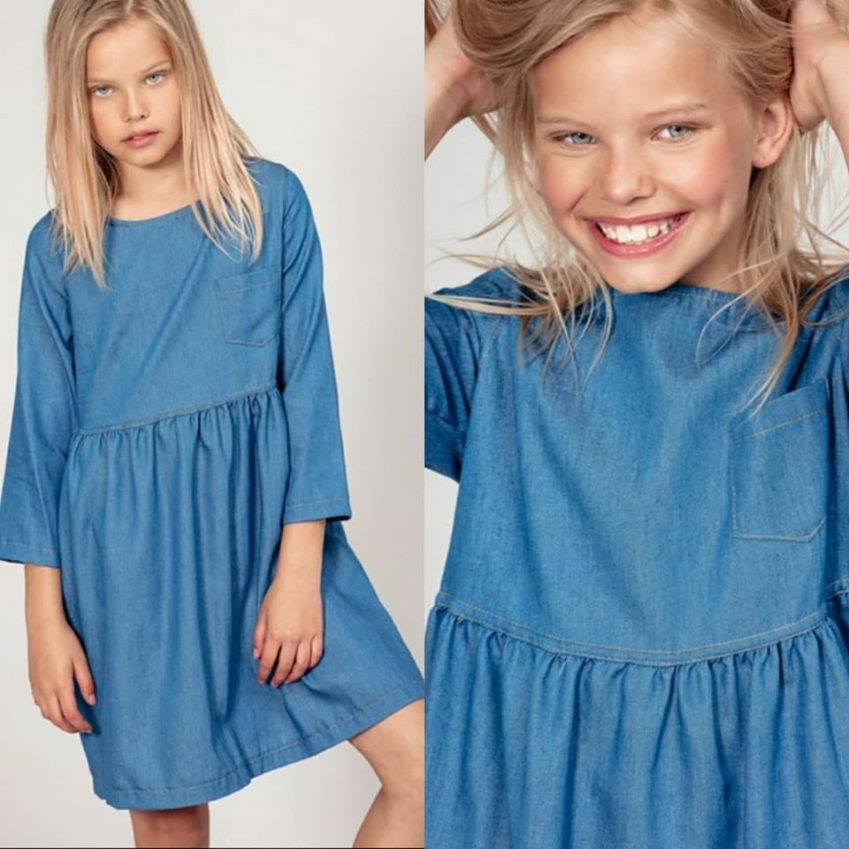 Chambray Doll Dress with Pockets