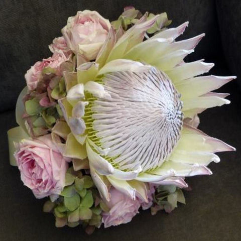 Bridal Bouquet with King Protea and Roses