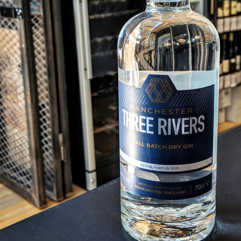 A bottle of Manchester Three Rivers Gin