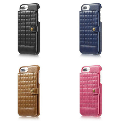 Grid Leather Back iPhone Case